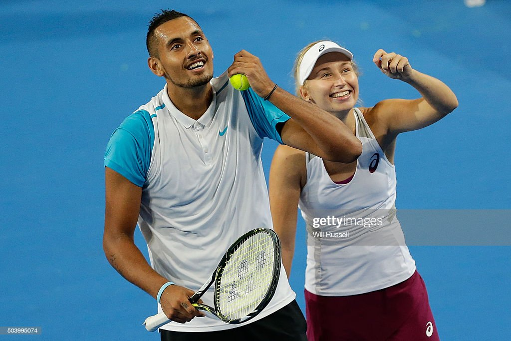 Nick Krygios and Daria Gavrilova of Australia Green talk tactic in the mixed doubles match between Carline Garcia and Kenny De Schepper of France during day six of the 2016 Hopman Cup at Perth Arena on January 8, 2016 in Perth, Australia.
