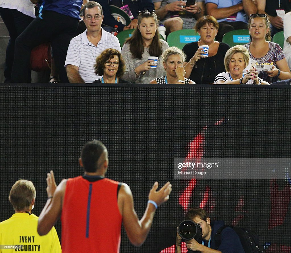 Nick Krygios of Australia reacts to spectators in his third round match against Tomas Berdych of the Czech Republic during day five of the 2016 Australian Open at Melbourne Park on January 22, 2016 in Melbourne, Australia.