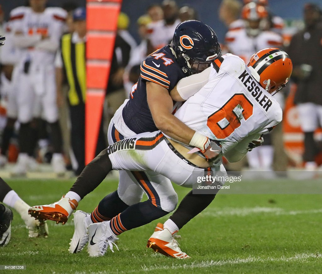 Nick Kwiatkoski #44 of the Chicago Bears sacks Cody Kessler #6 of the Cleveland Browns during a preseason game at Soldier Field on August 31, 2017 in Chicago, Illinois.
