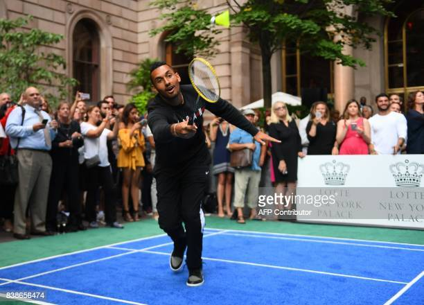Nick Kyrgioas of Australia plays Genie Bouchard of Canada in the Lotte New York Palace Invitational Badminton Tournament at the Lotte New York Palace...