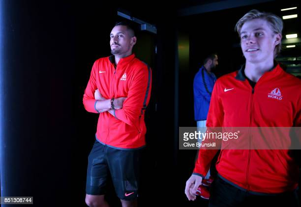 Nick Kyrgios and Denis Shapovalov of Team World enters the arena on the first day of the Laver Cup on September 22 2017 in Prague Czech Republic The...