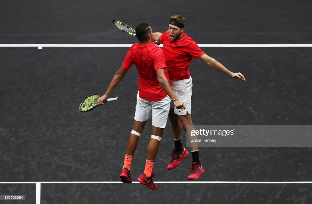 Nick Kyrgios and Jack Sock of Team World celebrate winning a point during there doubles match against Tomas Berdych and Rafael Nadal of Team Europe on the first day of the Laver Cup on September 22, 2017 in Prague, Czech Republic. The Laver Cup consists of six European players competing against their counterparts from the rest of the World. Europe will be captained by Bjorn Borg and John McEnroe will captain the Rest of the World team. The event runs from 22-24 September.
