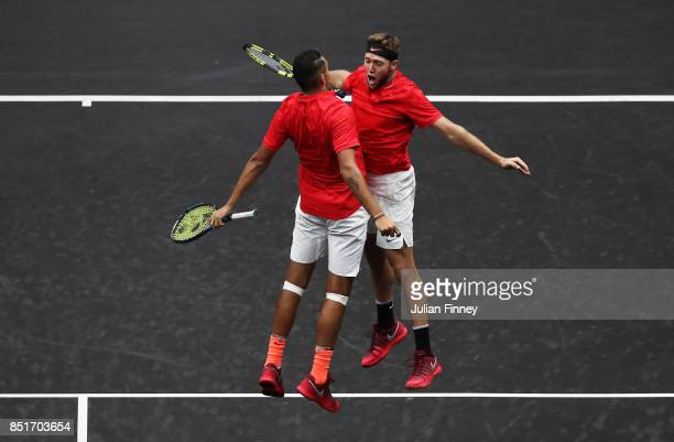 Nick Kyrgios and Jack Sock of Team World celebrate winning a point during there doubles match against Tomas Berdych and Rafael Nadal of Team Europe...