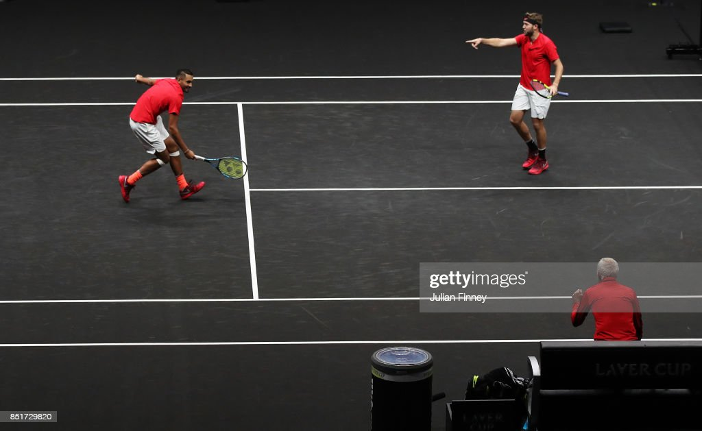 Nick Kyrgios and Jack Sock of Team World celebrate winning match point during there doubles match against Tomas Berdych and Rafael Nadal of Team Europe on the first day of the Laver Cup on September 22, 2017 in Prague, Czech Republic. The Laver Cup consists of six European players competing against their counterparts from the rest of the World. Europe will be captained by Bjorn Borg and John McEnroe will captain the Rest of the World team. The event runs from 22-24 September.