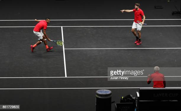 Nick Kyrgios and Jack Sock of Team World celebrate winning match point during there doubles match against Tomas Berdych and Rafael Nadal of Team...