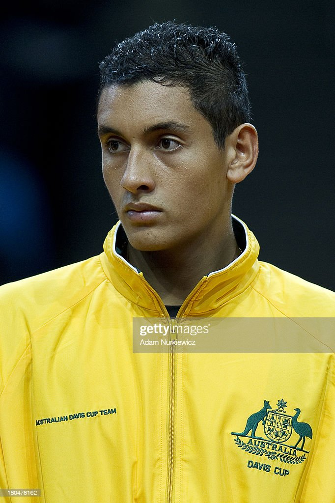 Nick Kyrgios from Australia while national anthem before the Davis Cup match between Poland and Australia at the Torwar Hall, on September 13, 2013 in Warsaw, England.