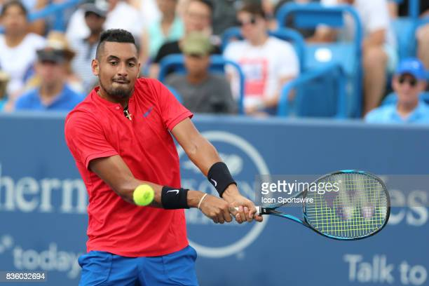 Nick Kyrgios hits a backhand during the championship match against Grigor Dimitrov during the Western Southern Open at the Lindner Family Tennis...