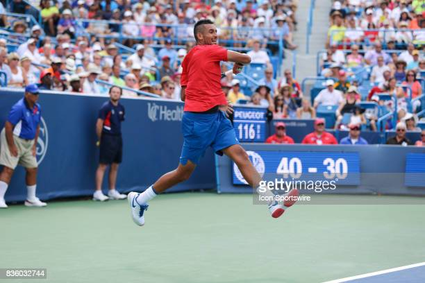 Nick Kyrgios hits a forehand during the championship match against Grigor Dimitrov during the Western Southern Open at the Lindner Family Tennis...