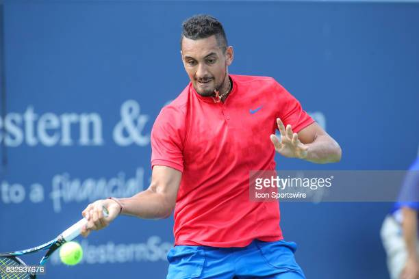 Nick Kyrgios hits a forehand during the Western Southern Open at the Lindner Family Tennis Center in Mason Ohio on August 15 2017