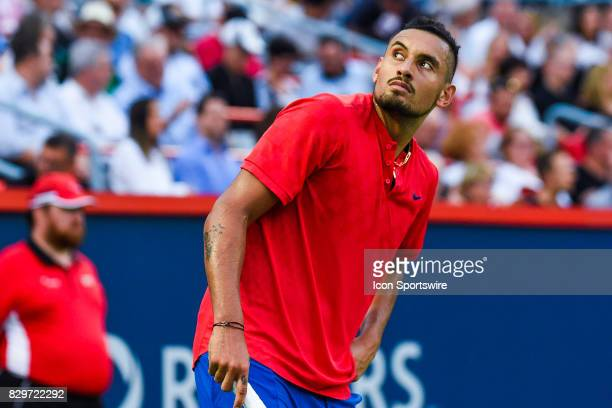 Nick Kyrgios looking at the crowd during his third round match at ATP Coupe Rogers on August 10 at Uniprix Stadium in Montreal QC
