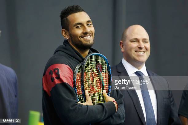 Nick Kyrgios looks on during an Australian Open announcement at Melbourne Park on December 6 2017 in Melbourne Australia