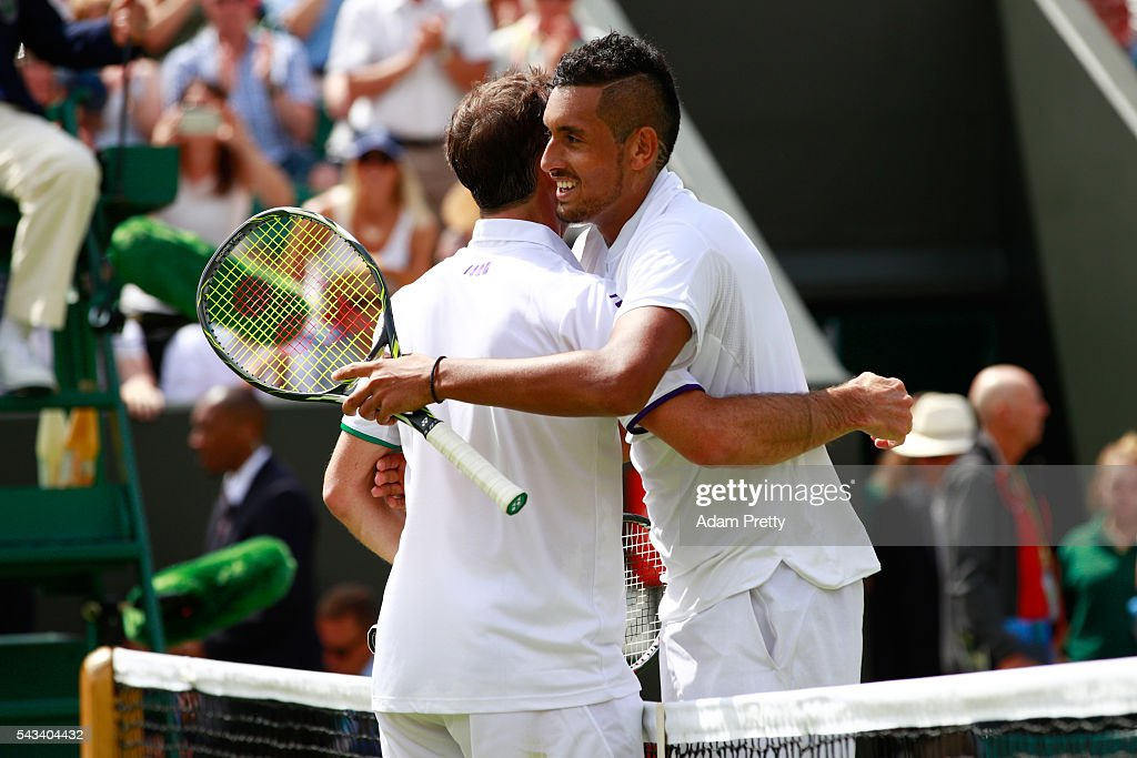 <a gi-track='captionPersonalityLinkClicked' href=/galleries/search?phrase=Nick+Kyrgios&family=editorial&specificpeople=6705178 ng-click='$event.stopPropagation()'>Nick Kyrgios</a> of Australia and Radek Stepanek of The Czech Republic shake hands following the Men's Singles first round match on day two of the Wimbledon Lawn Tennis Championships at the All England Lawn Tennis and Croquet Club on June 28, 2016 in London, England.