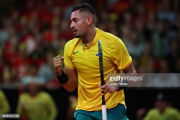 Nick Kyrgios of Australia celebrates a point against David Goffin of Belgium during day three of the Davis Cup World Group semi final match between...