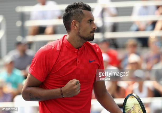 Nick Kyrgios of Australia celebrates after winning a point against Alexandr Dolgopolov of Ukraine during Day 5 of the Western Southern Open at the...