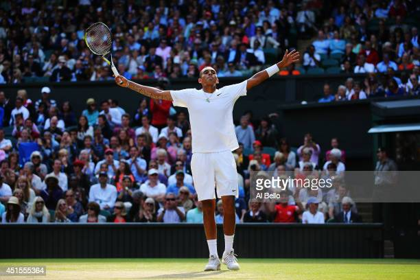 Nick Kyrgios of Australia celebrates during his Gentlemen's Singles fourth round match against Rafael Nadal of Spain on day eight of the Wimbledon...