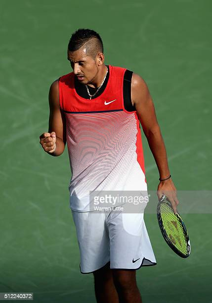 Nick Kyrgios of Australia celebrates during his quarter final match against Tomas Berdych of Czech Republic on day six of the ATP Dubai Duty Free...
