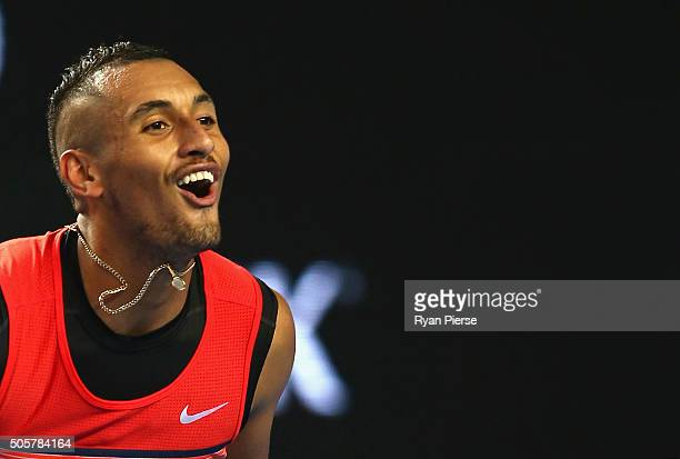 Nick Kyrgios of Australia celebrates in his second round match against Pabio Cuevas of Uruguay during day three of the 2016 Australian Open at...