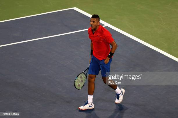 Nick Kyrgios of Australia celebrates match point after defeating Rafael Nadal of Spain during Day 7 of the Western and Southern Open at the Linder...