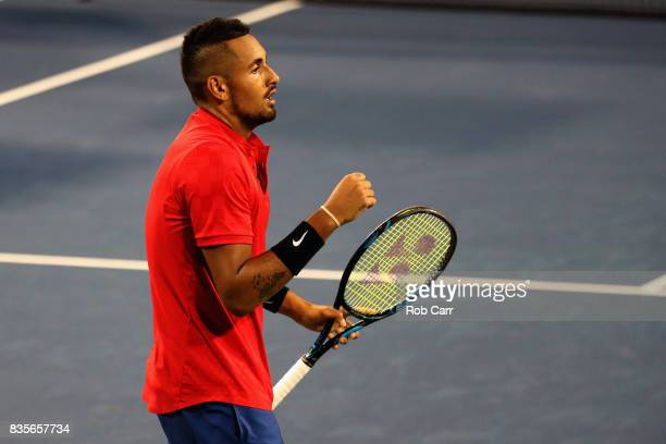 Nick Kyrgios of Australia celebrates match point over David Ferrer of Spain during Day 8 of the Western and Southern Open at the Linder Family Tennis...