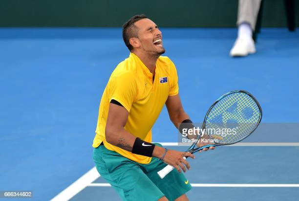 Nick Kyrgios of Australia celebrates victory after his match against Sam Querrey of the USA during the Davis Cup World Group Quarterfinals between...