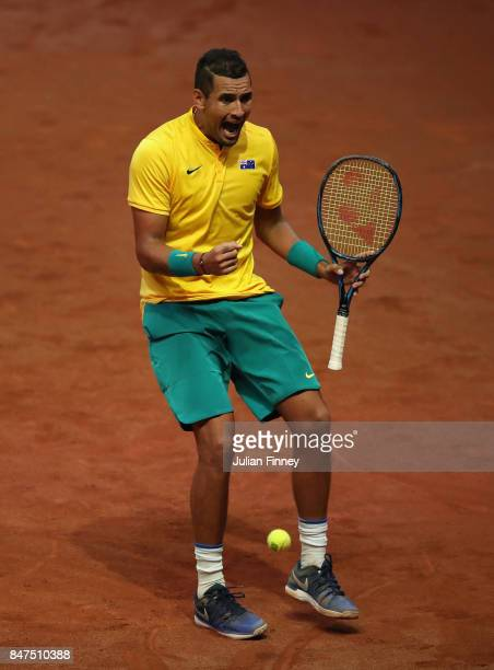 Nick Kyrgios of Australia celebrates winning a game in his match against Steve Darcis of Belgium during day one of the Davis Cup World Group semi...