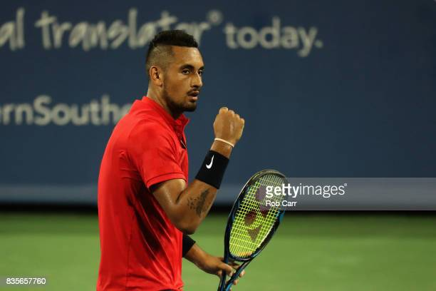 Nick Kyrgios of Australia celebrates winning a point against David Ferrer of Spain during Day 8 of the Western and Southern Open at the Linder Family...
