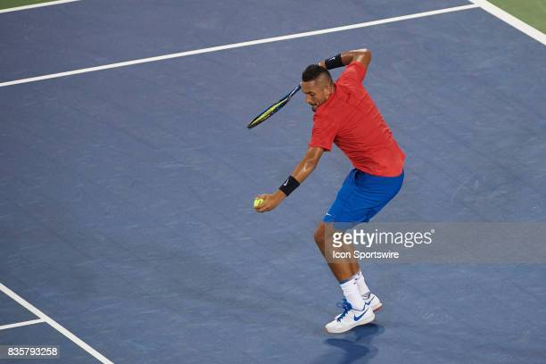 Nick Kyrgios of Australia celebrates winning during his quarter final match against Rafael Nadal of Spain in the Western Southern Open at the Lindner...