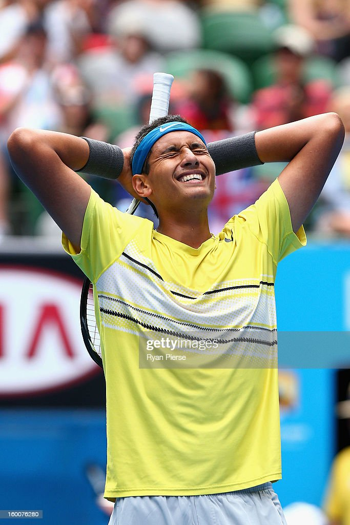<a gi-track='captionPersonalityLinkClicked' href=/galleries/search?phrase=Nick+Kyrgios&family=editorial&specificpeople=6705178 ng-click='$event.stopPropagation()'>Nick Kyrgios</a> of Australia celebrates winning his junior boys' final match against Thanasi Kokkinakis of Australia during the 2013 Australian Open Junior Championships at Melbourne Park on January 26, 2013 in Melbourne, Australia.