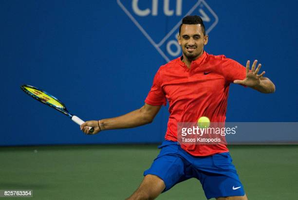 Nick Kyrgios of Australia competes with Tennys Sandgren of USA at William HG FitzGerald Tennis Center on August 2 2017 in Washington DC