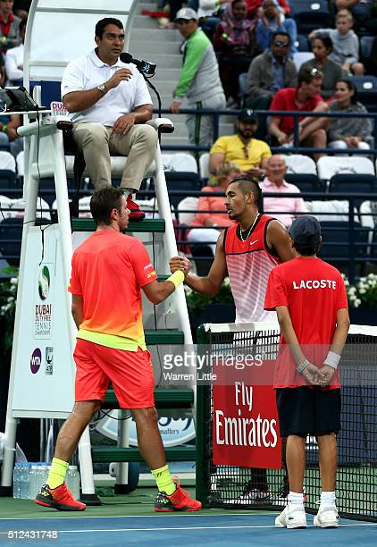 Nick Kyrgios of Australia conceeds his semi final match against Stan Wawrinka of Switzerland after injury on day seven of the ATP Dubai Duty Free...