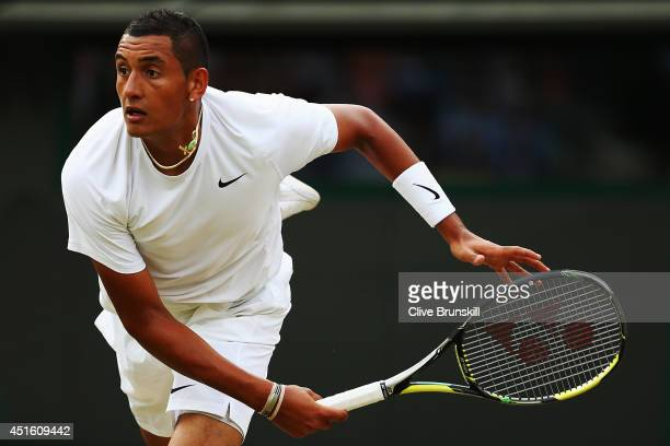 Nick Kyrgios of Australia during his Gentlemen's Singles quarterfinal match against Milos Raonic of Canada on day nine of the Wimbledon Lawn Tennis...