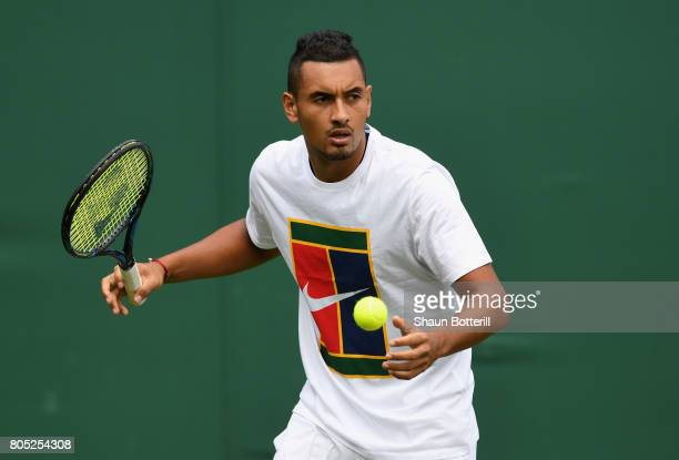Nick Kyrgios of Australia during practise at Wimbledon on July 1 2017 in London England