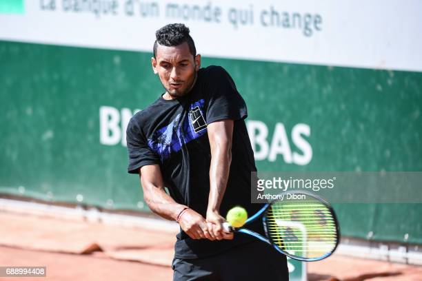 Nick Kyrgios of Australia during the Roland Garros Kid's Day of the French Open at Roland Garros on May 27 2017 in Paris France