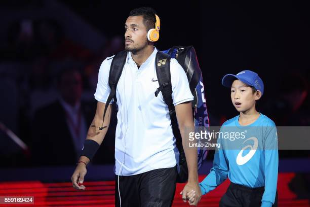 Nick Kyrgios of Australia enters the tennis court during the Men's Singles final against Rafael Nadal of Spain on day nine of the 2017 China Open at...