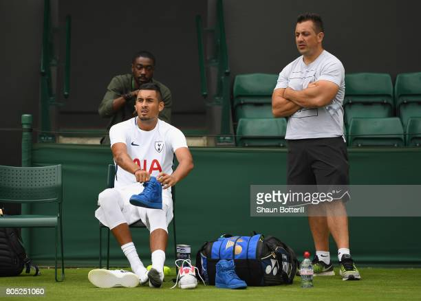 Nick Kyrgios of Australia heads back to the locker room after practising at Wimbledon on July 1 2017 in London England