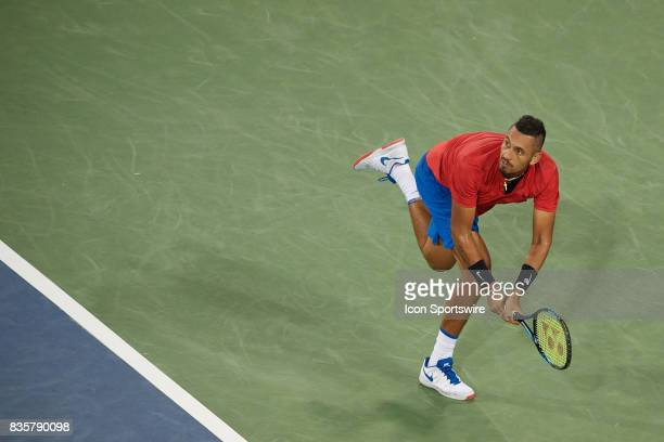 Nick Kyrgios of Australia hits a backhand during his quarter final match against Rafael Nadal of Spain in the Western Southern Open at the Lindner...