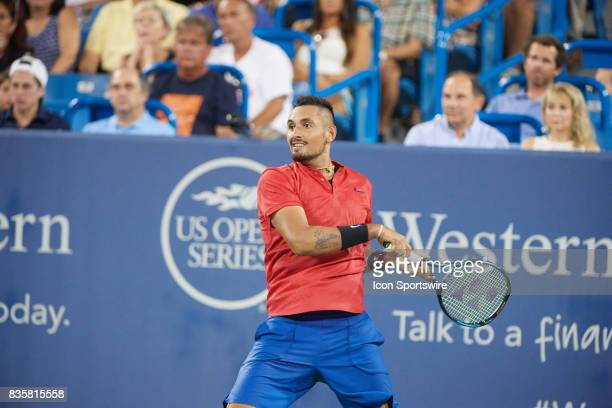 Nick Kyrgios of Australia hits a backhand to David Ferrer of Spain during their semifinal match in the Western Southern Open at the Lindner Family...