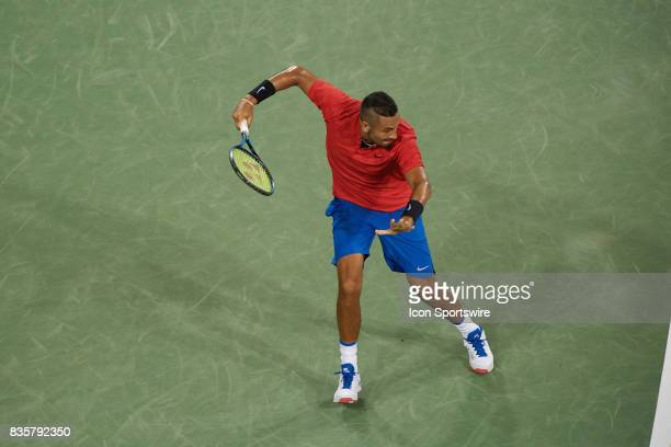 Nick Kyrgios of Australia hits a forehand during his quarter final match against Rafael Nadal of Spain in the Western Southern Open at the Lindner...