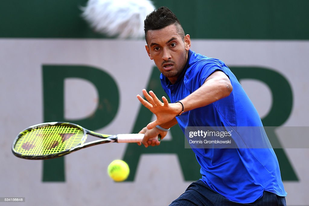 <a gi-track='captionPersonalityLinkClicked' href=/galleries/search?phrase=Nick+Kyrgios&family=editorial&specificpeople=6705178 ng-click='$event.stopPropagation()'>Nick Kyrgios</a> of Australia hits a forehand during the Men's Singles second round match against Igor Sijsling of Netherlands on day four of the 2016 French Open at Roland Garros on May 25, 2016 in Paris, France.