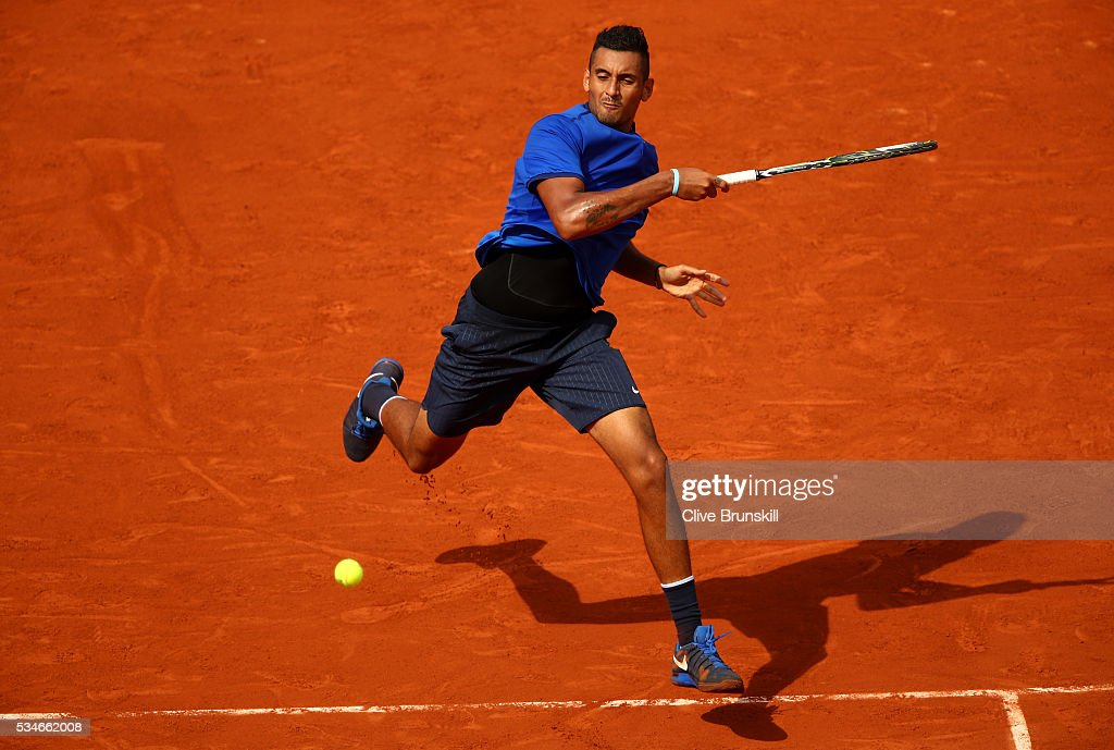 <a gi-track='captionPersonalityLinkClicked' href=/galleries/search?phrase=Nick+Kyrgios&family=editorial&specificpeople=6705178 ng-click='$event.stopPropagation()'>Nick Kyrgios</a> of Australia hits a forehand during the Men's Singles third round match against Richard Gasquet of France on day six of the 2016 French Open at Roland Garros on May 27, 2016 in Paris, France.