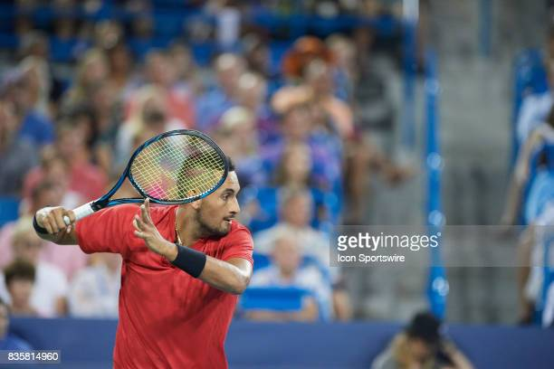 Nick Kyrgios of Australia hits a forehand to David Ferrer of Spain during their semifinal match in the Western Southern Open at the Lindner Family...