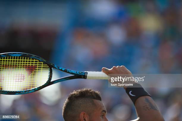 Nick Kyrgios of Australia hits a forehand to Grigor Dimitrov of Bulgaria during the men's finals in the Western Southern Open at the Lindner Family...