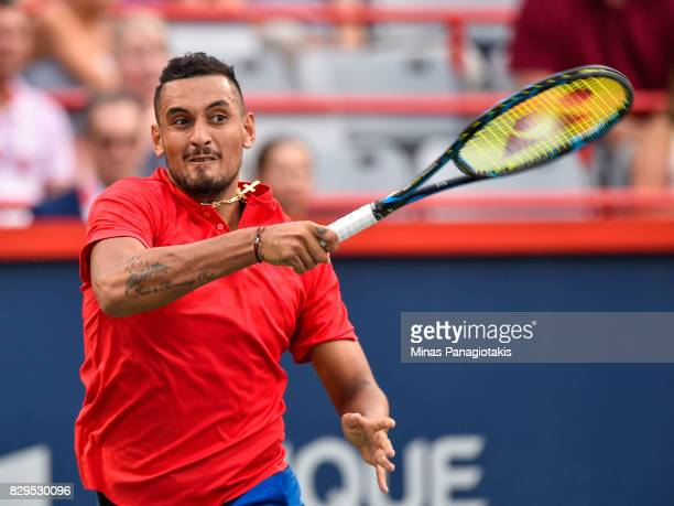 Nick Kyrgios of Australia hits a return against Alexander Zverev of Germany during day seven of the Rogers Cup presented by National Bank at Uniprix...