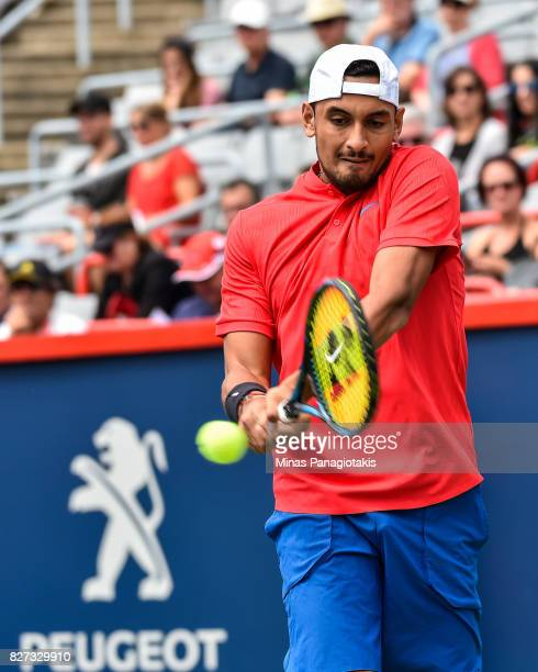 Nick Kyrgios of Australia hits a return against Viktor Troicki of Serbia Montenegro during day four of the Rogers Cup presented by National Bank at...