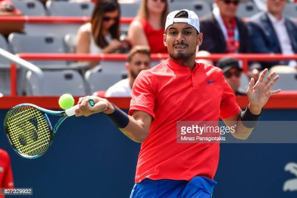 Nick Kyrgios of Australia hits his return against Viktor Troicki of Serbia Montenegro during day four of the Rogers Cup presented by National Bank at...