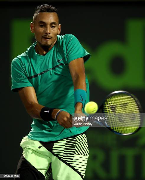 Nick Kyrgios of Australia in action against David Goffin of Belgium at Crandon Park Tennis Center on March 28 2017 in Key Biscayne Florida