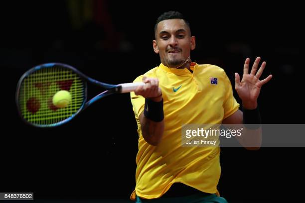 Nick Kyrgios of Australia in action against David Goffin of Belgium during day three of the Davis Cup World Group semi final match between Belgium...