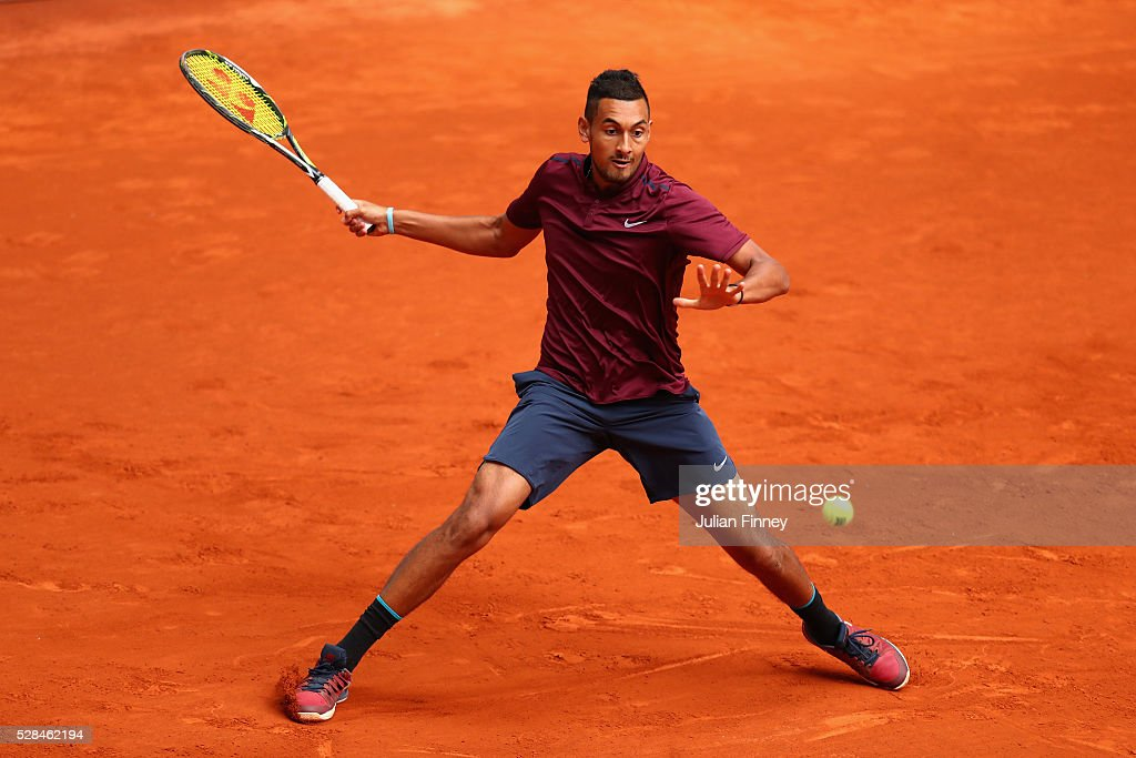 <a gi-track='captionPersonalityLinkClicked' href=/galleries/search?phrase=Nick+Kyrgios&family=editorial&specificpeople=6705178 ng-click='$event.stopPropagation()'>Nick Kyrgios</a> of Australia in action against Pablo Cuevas of Uruguay during day six of the Mutua Madrid Open tennis tournament at the Caja Magica on May 05, 2016 in Madrid, Spain.