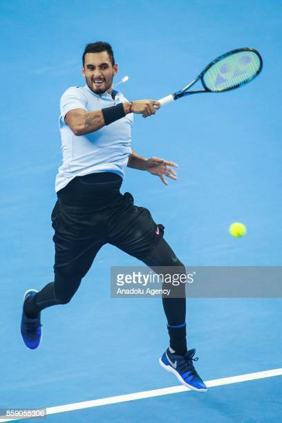 Nick Kyrgios of Australia in action against Rafael Nadal of Spain during the men's singles final match on day nine of the 2017 China Open at the...