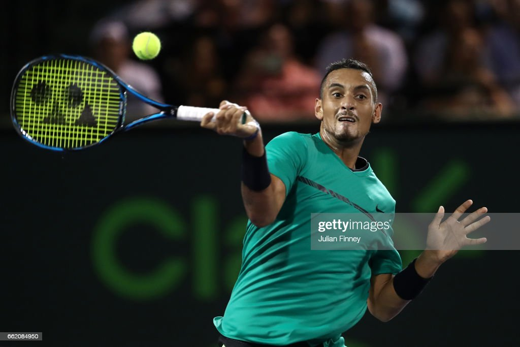 Nick Kyrgios of Australia in action against Roger Federer of Switzerland in the semi finals at Crandon Park Tennis Center on March 31, 2017 in Key Biscayne, Florida.